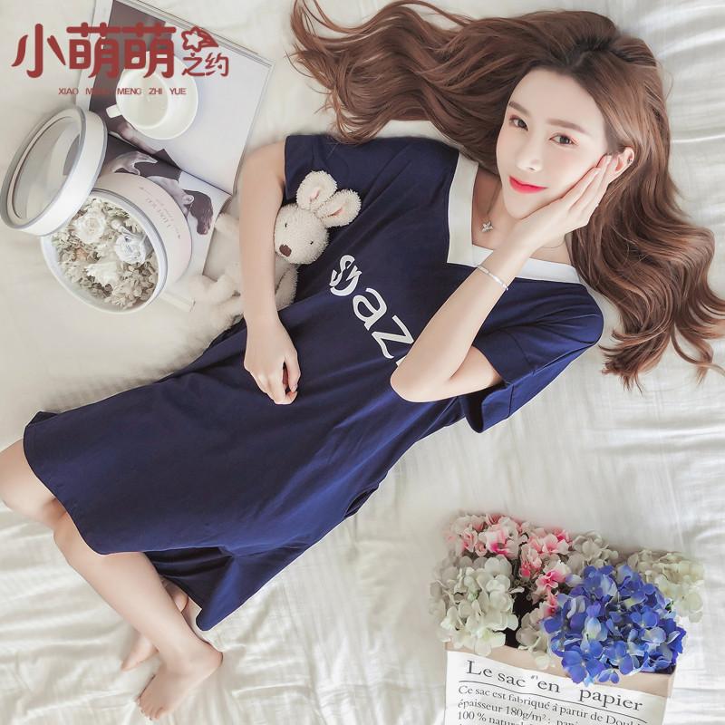 韩版睡裙女夏短袖清新可外穿学生V领性感甜美可爱全棉轻时尚睡衣11月21日最新优惠