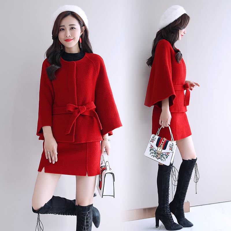 2018秋冬装新款韩版女装小个子赫本风毛呢时尚初秋套装裙两件套潮