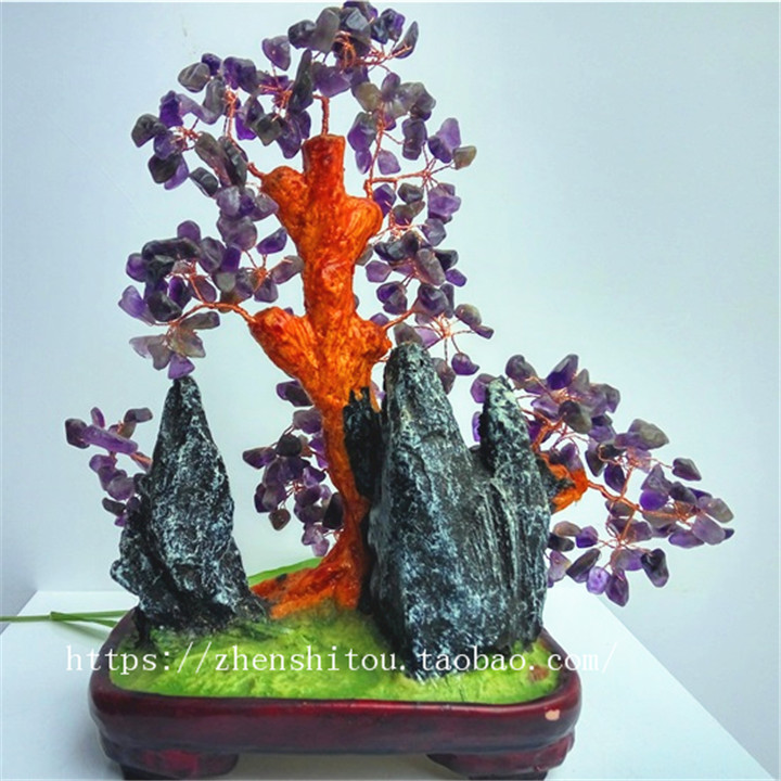 Hot selling new natural amethyst fortune tree ornaments town house fortune changing love stone Amethyst bonsai flower tree 23cm