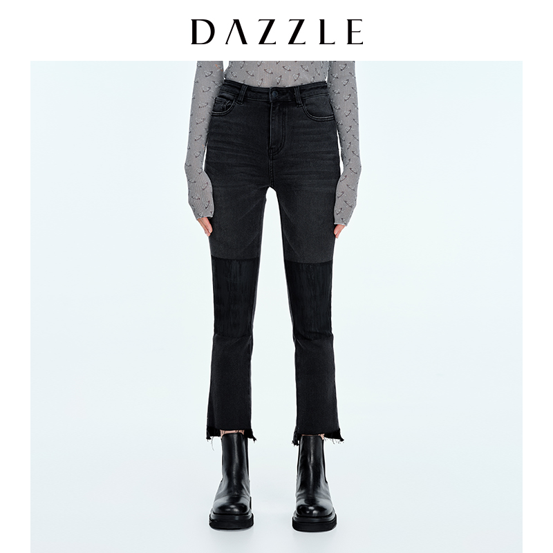 DAZZLE 2020 winter new smoky gray irregular trouser elastic jeans women 2C4R5081A