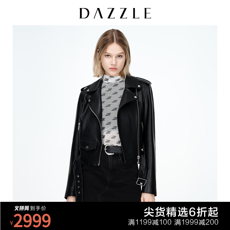 DAZZLE 2020 autumn and winter new leather motorcycle jacket women 2C4L4661A