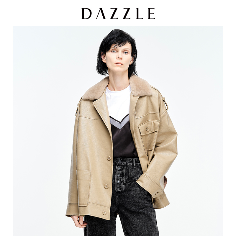 DAZZLE 2020 winter new wool fur collar waist jacket lapel jacket female 2C4F4181L