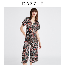 DAZZLE Plain 2019 Summer Suit New Leisure V-neck Loose Short Sleeve Pants 2G2P9026A for Women