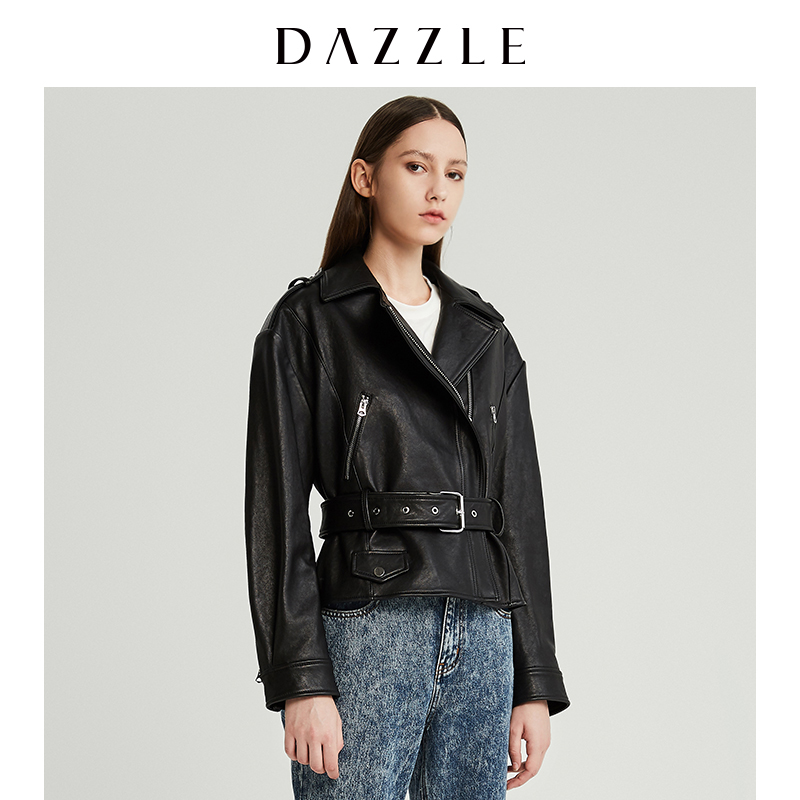 Dazzle Disu spring clothing new handsome locomotive style sheep leather leather clothing female 2g4l4061a