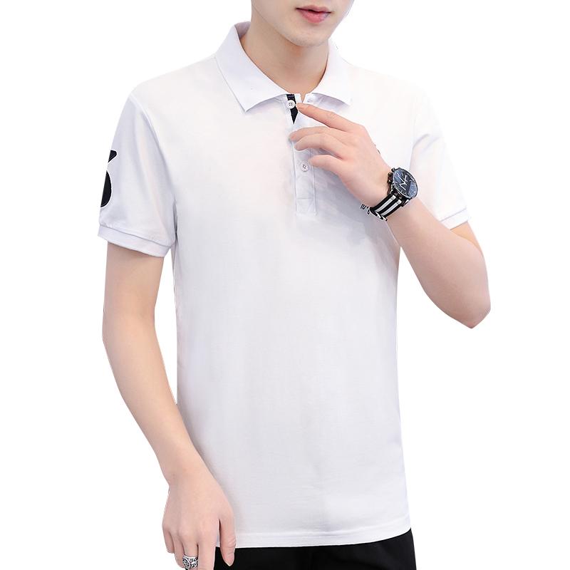 夏季男士短袖t恤 翻领条纹polo衫潮流韩版半袖体恤潮牌男装上衣服
