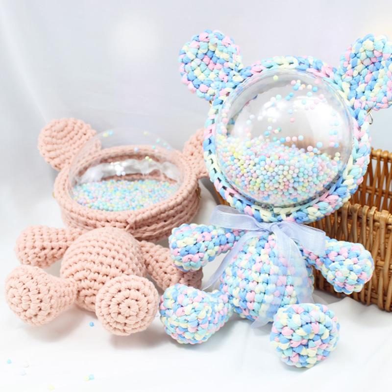 小熊暴力熊手工编织包包毛线diy材料包米奇兔子自制透明太空背包