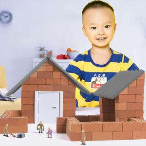 弥鹿小小泥瓦匠儿童DIY仿真砖瓦建筑盖房子手工搭建别墅模型玩具