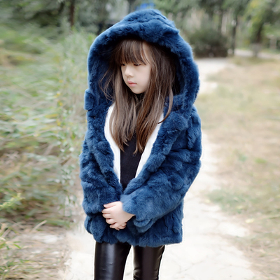 Parent-child children's clothing fur coat boys and girls baby hooded children's fur coat with cotton Korean rex rabbit fur coat