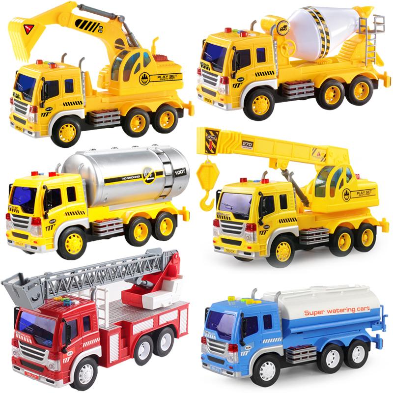 大号消防洒水车惯性工程水泥搅拌吊车油罐挖掘机儿童玩具男孩汽车