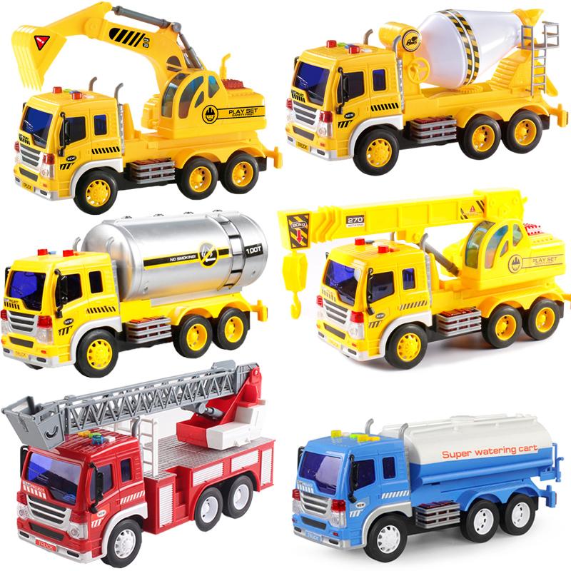 大号消防洒水车挖土工程水泥搅拌吊车油罐挖掘机儿童玩具男孩汽车