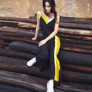 2020夏季新款薄两件套休闲女装显瘦V领吊带背心阔腿裤时尚套装女