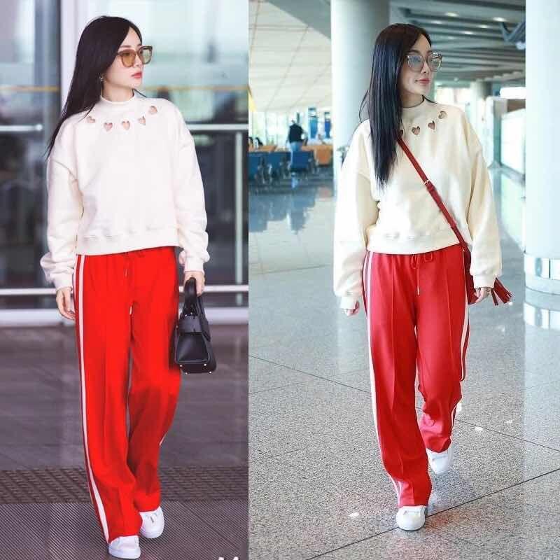 18夏季李小璐同款白色条纹红色运动裤女校服裤休闲直筒长裤松紧腰