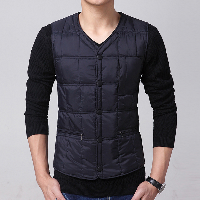 New fall and winter mid-aged and old down vest thickened mens inside wear large warm vest vest waistband with inner tank