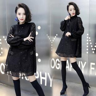 2020秋冬季新款韓版時尚蕾絲雪紡衫女中長款打底衫寬鬆上衣