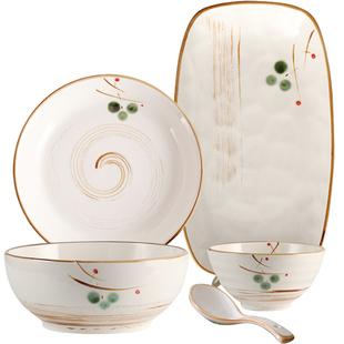 日式简约餐具套装4人创意陶瓷盘子