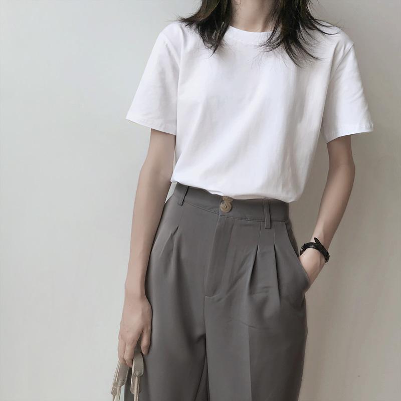 纯棉短袖t恤女夏宽松韩版潮2021新款欧货白色半袖ins超火上衣体恤