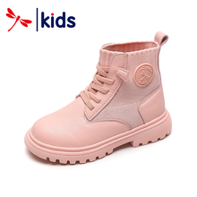 Red Dragonfly children's shoes 2019 winter new girls' Martin boots knitting boots Princess cotton boots boys' real leather boots