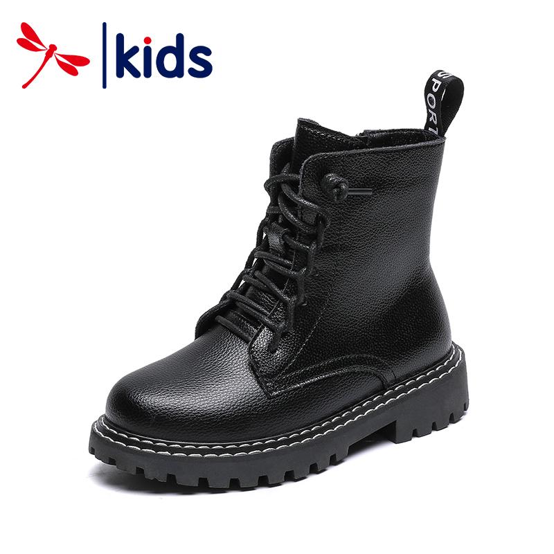 红蜻蜓童鞋2019冬季新款男童马丁靴加棉短靴英伦真皮靴女儿童靴子