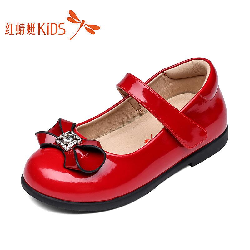 红蜻蜓童鞋2019春秋新款女童皮鞋真皮公主鞋儿童单鞋中大童休闲鞋