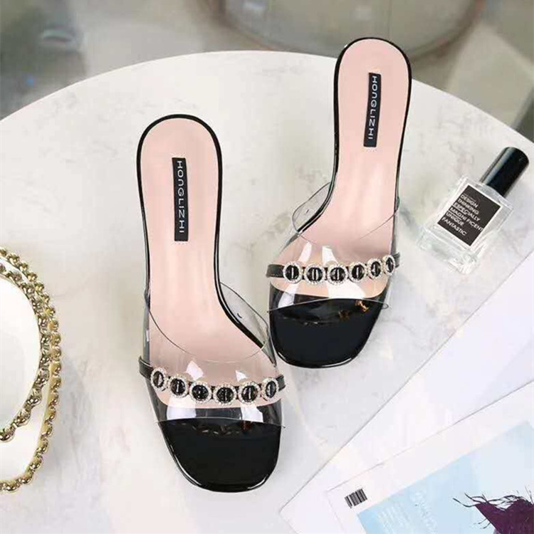 Summer new style square head open toe water drill transparent one line sandal thin heel high heel slippers
