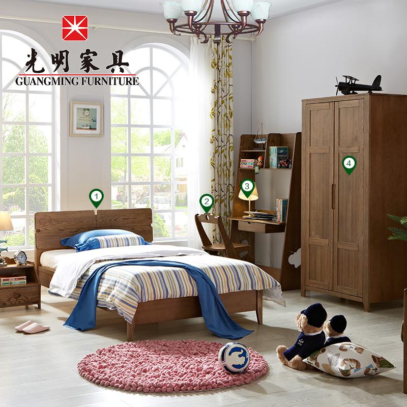 Яркий мебель спальня установите мебель сочетание современный простой нордический все деревянные импорт красный дуб дерево мебель