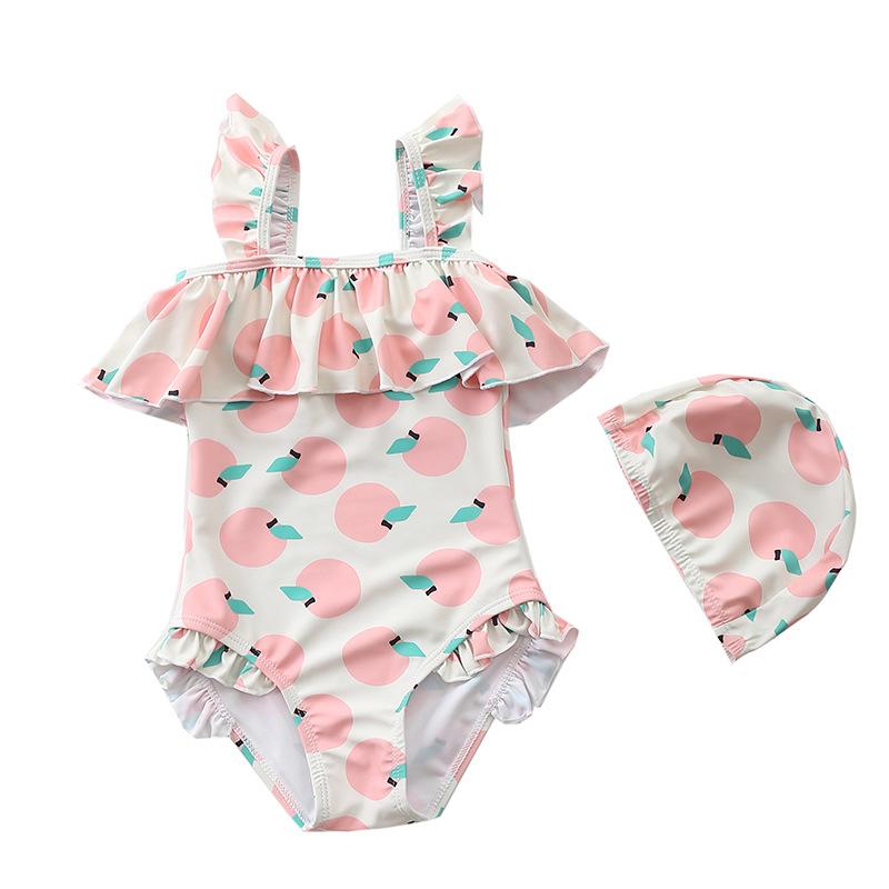 INS儿童泳衣女女童连体泳装韩国宝宝母婴店公主女孩婴儿游泳衣