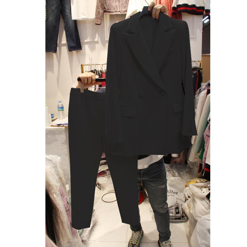 大码女装微胖妹妹显瘦职业西装套装2018新款胖mm面试工装200斤冬