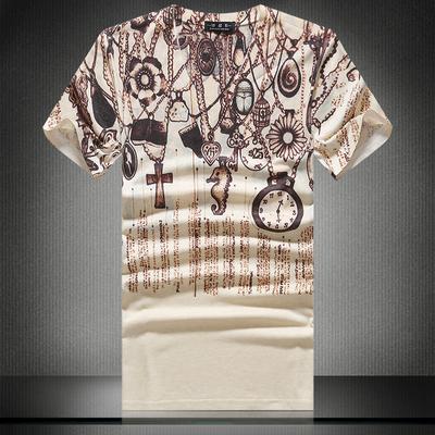 【四季供货】外貌欧美英伦风纯棉数码印花男士T恤D219-8105-P35