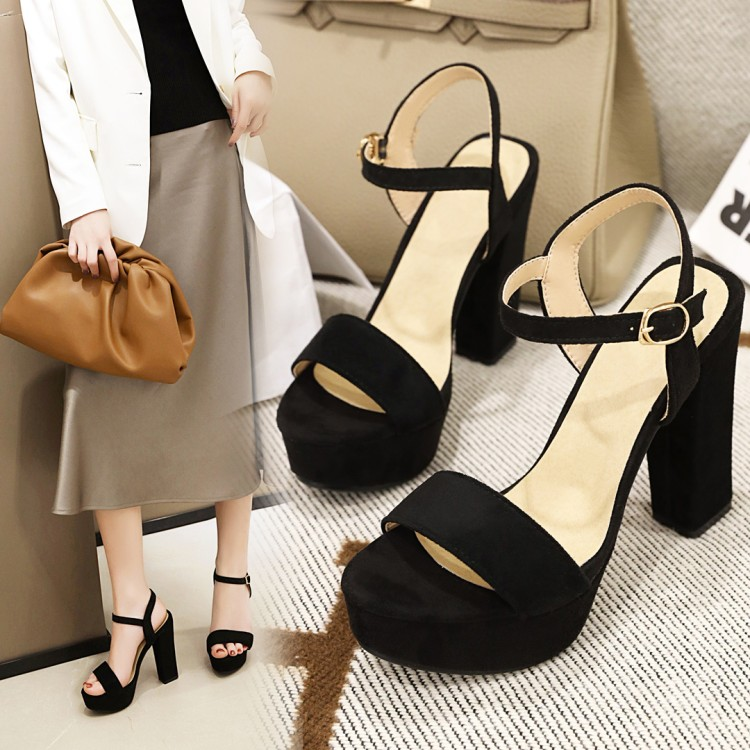 Summer new sandals womens open toe shoes super high thick heel hollow one button black rice orange suede fairy sexy shoes