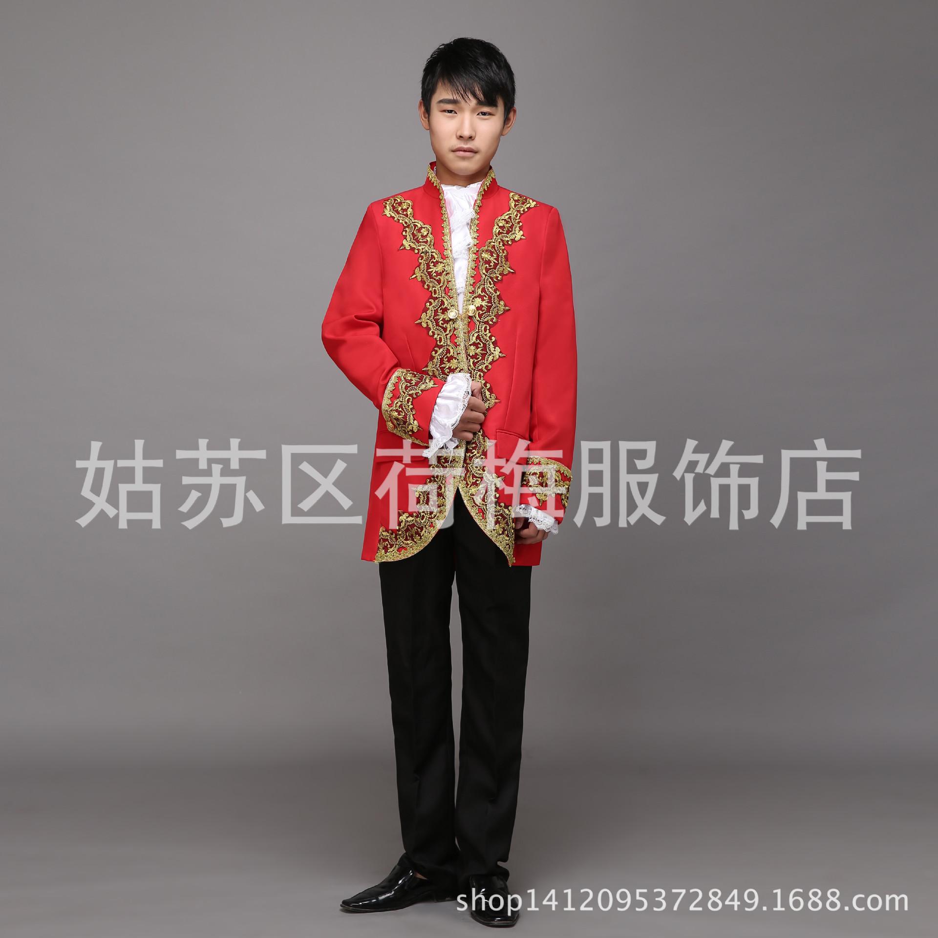 新款欧式宫廷装男士爵士王子宫廷服中式新郎西装主持人套装演出服