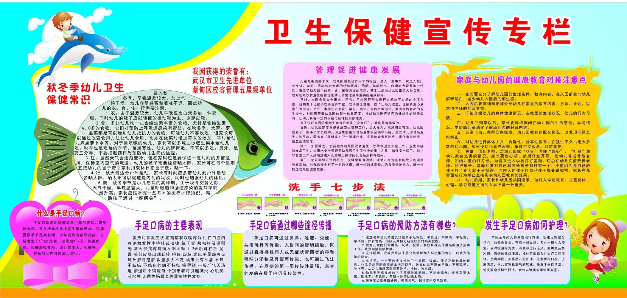 706画布海报展板喷绘素材贴纸36幼儿园卫生保健宣传栏