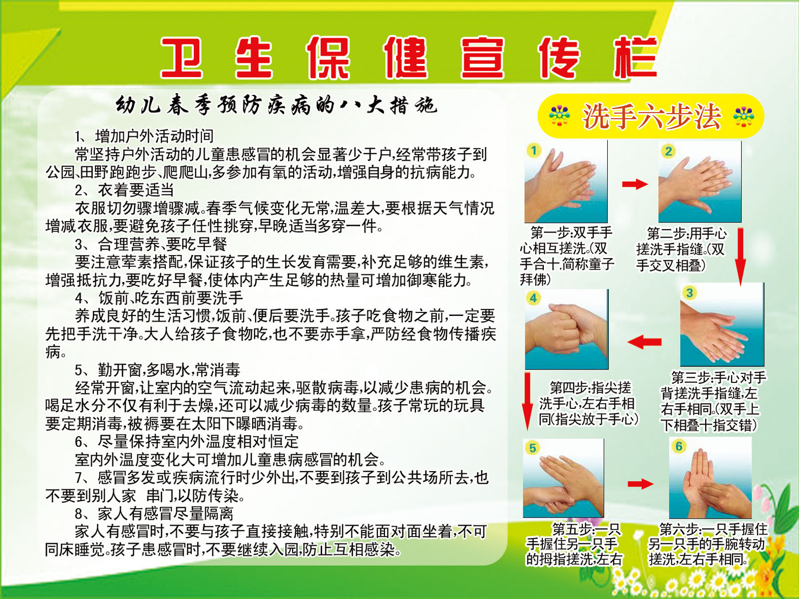 644画布海报展板喷绘素材贴纸551幼儿园卫生保健知识宣传