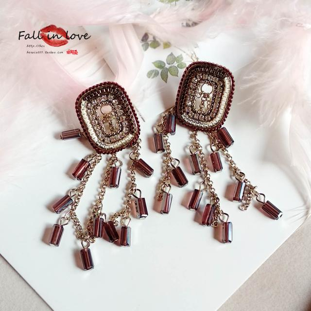 2019 luxury love color beads chain hollow square fringed long Earrings 925 silver needle