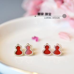 群镶钻石小耳钉耳饰玫瑰金黄金18K天然红玉髓设计QL宝葫芦