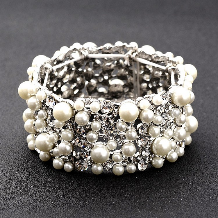 High grade Wedding Jewelry Diamond Pearl Wedding Dress studio photo accessories wide Bracelet Adjustable Bracelet