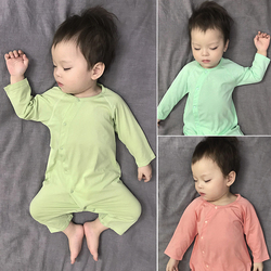 婴儿秋装长袖薄款无骨睡衣斜襟护肚纯棉新生儿爬服宝宝连体衣秋