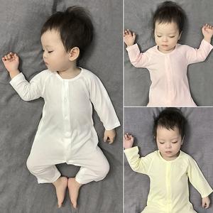 婴儿衣服薄款长袖莫代尔无骨连体衣