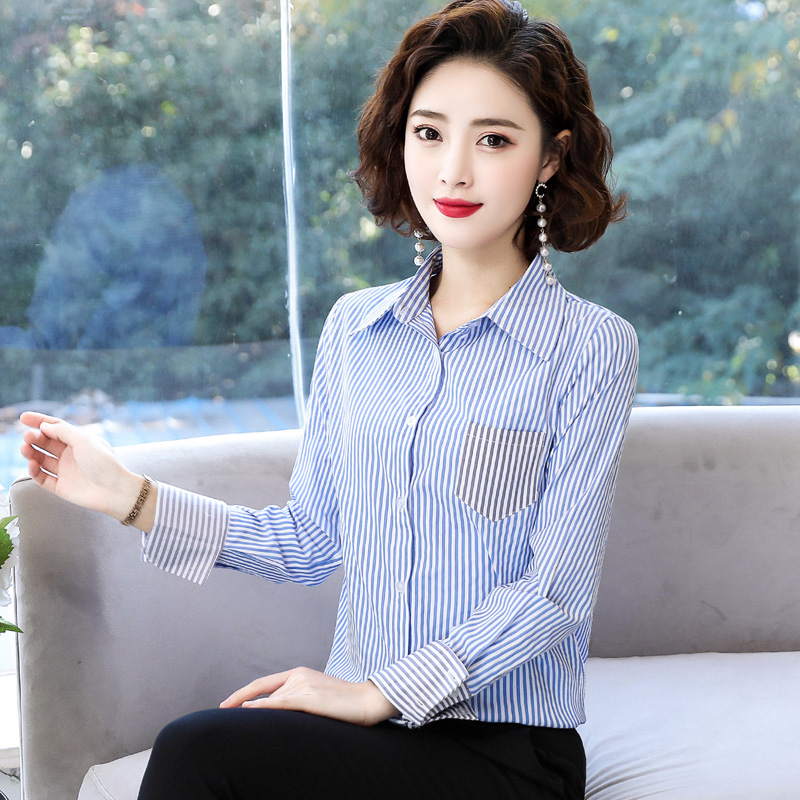 2020春装新款衬衫女长袖韩版时尚中长款条纹打底衫洋气宽松衬衣寸