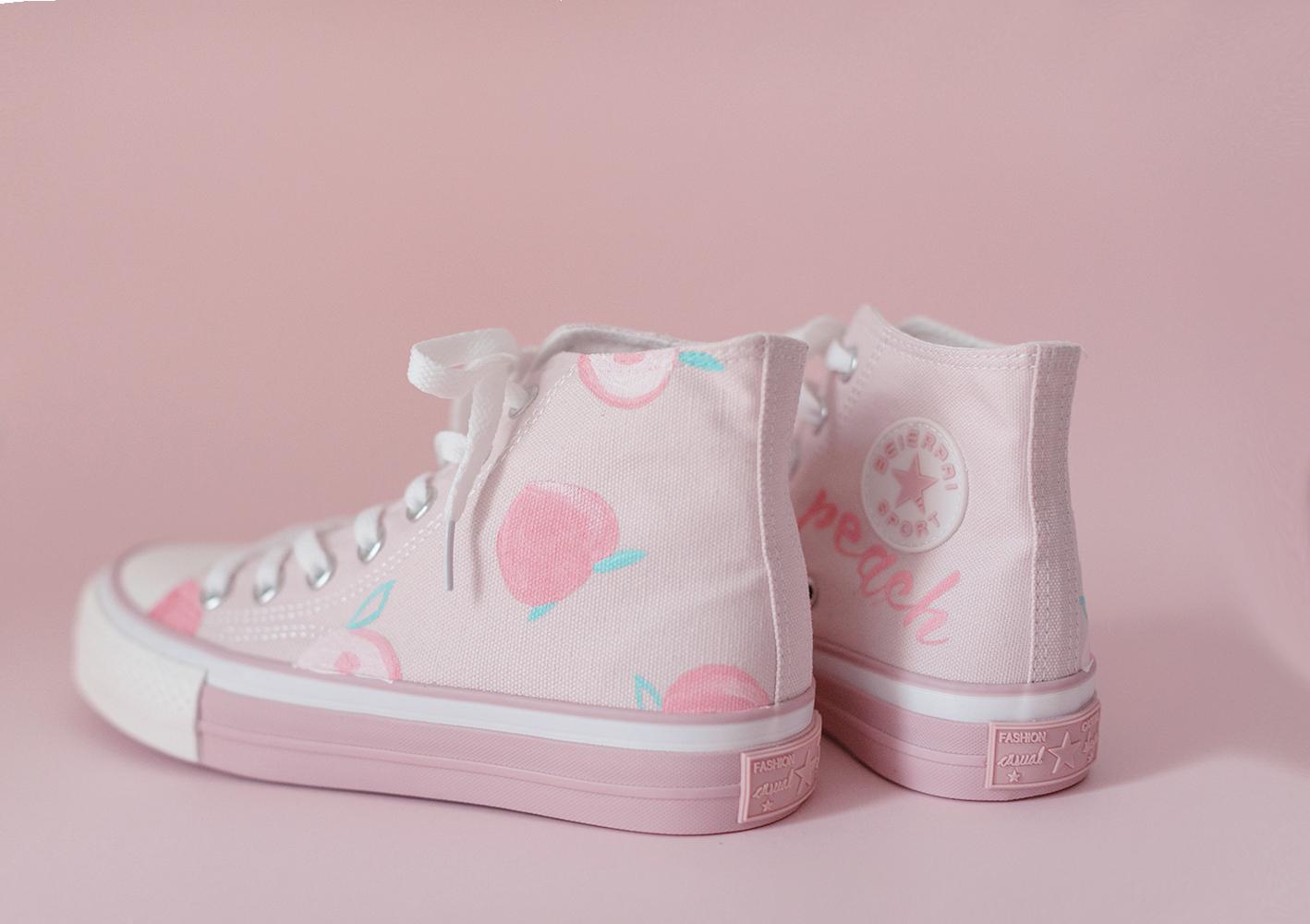 秋新款粉色高帮平底手绘帆布鞋水蜜桃子女鞋少女心学生日系小清新