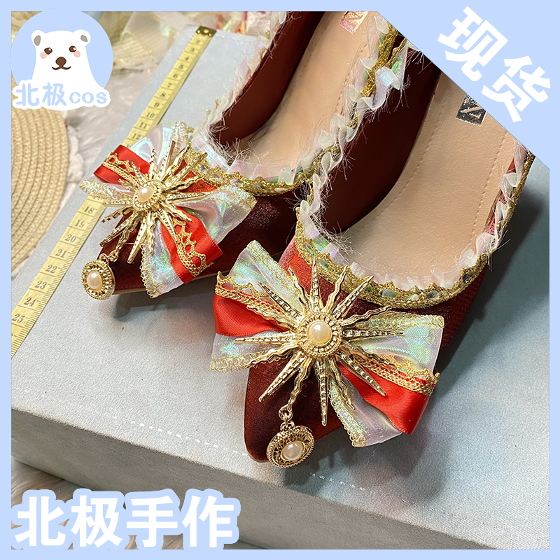 Arctic hand made high heel shoes original flower wedding shoes Lolita wine red pointed thin heel shoes Lolita shoes