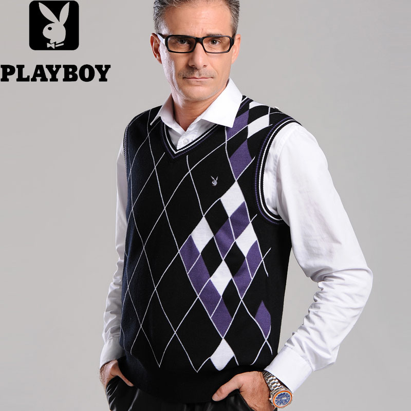 Playboy new autumn and winter mens sweater wool cashmere V-neck vest vest waistcoat for middle-aged and elderly