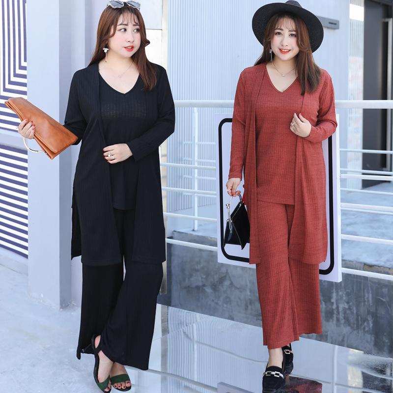 2019秋季新款大码女装OL针织三件套气质时尚女士套装胖MM服饰6528