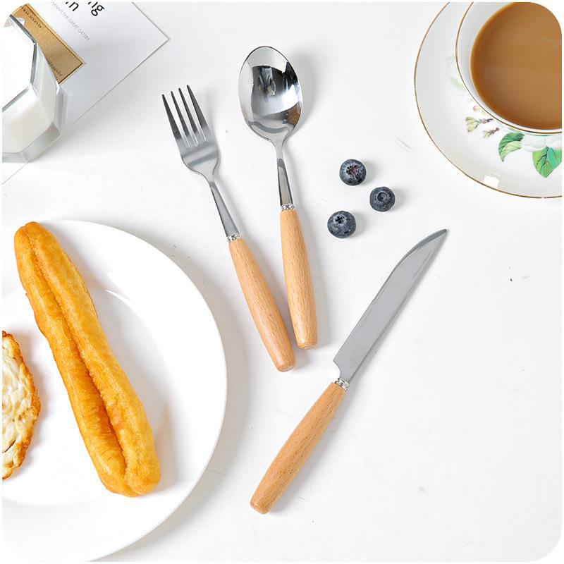Деревянная ручка из нержавеющей стали из нержавеющей стали в японском стиле E442 羹 детские Палочки для еды десерты