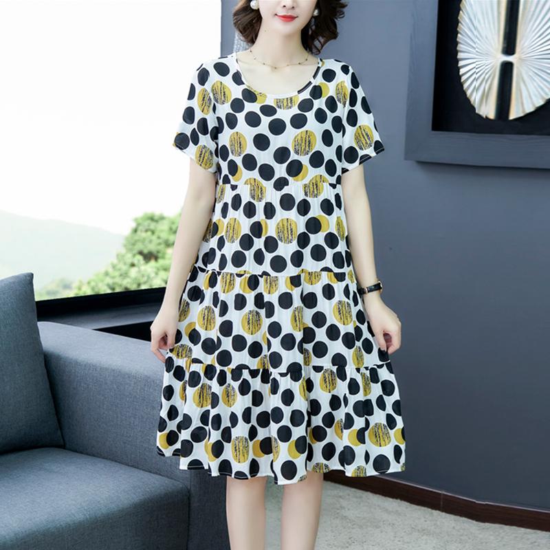 棉綢連衣裙中長款夏時尚外穿波西米亞綿綢大碼民族風寬松顯瘦大擺
