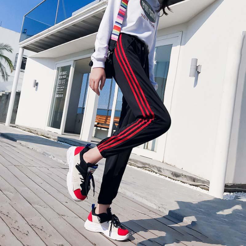 Hiphop pants for students of Yuansu BF side stripe jogging pants