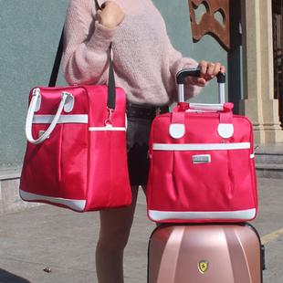 新款小容量防水旅行包手提单肩行李包装衣服出游包背面可套拉杆潮图片