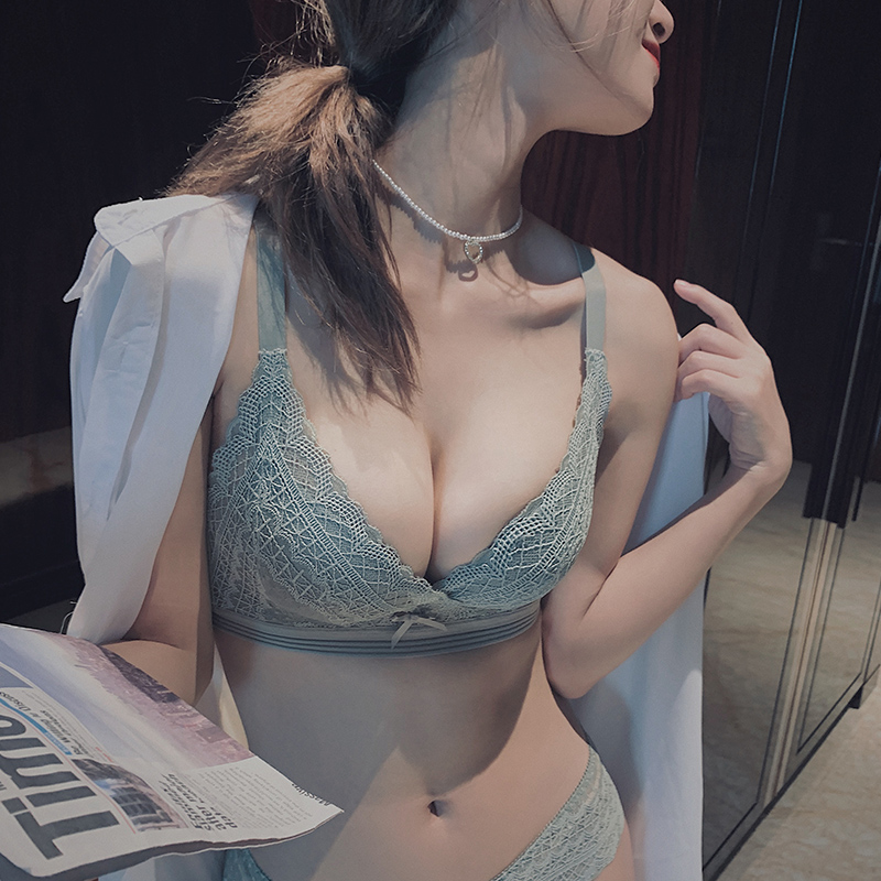内衣女性感聚拢小胸显大无钢圈调整型胸罩上托收副乳厚款蕾丝文胸