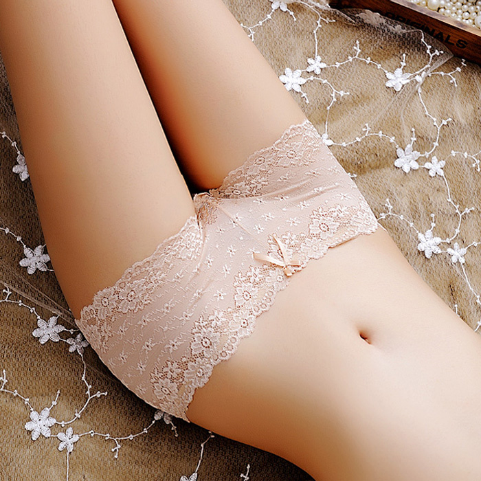 4 pairs of underwear womens lace fabric sexy temptation low mid waist seamless cotton crotch transparent girls pants