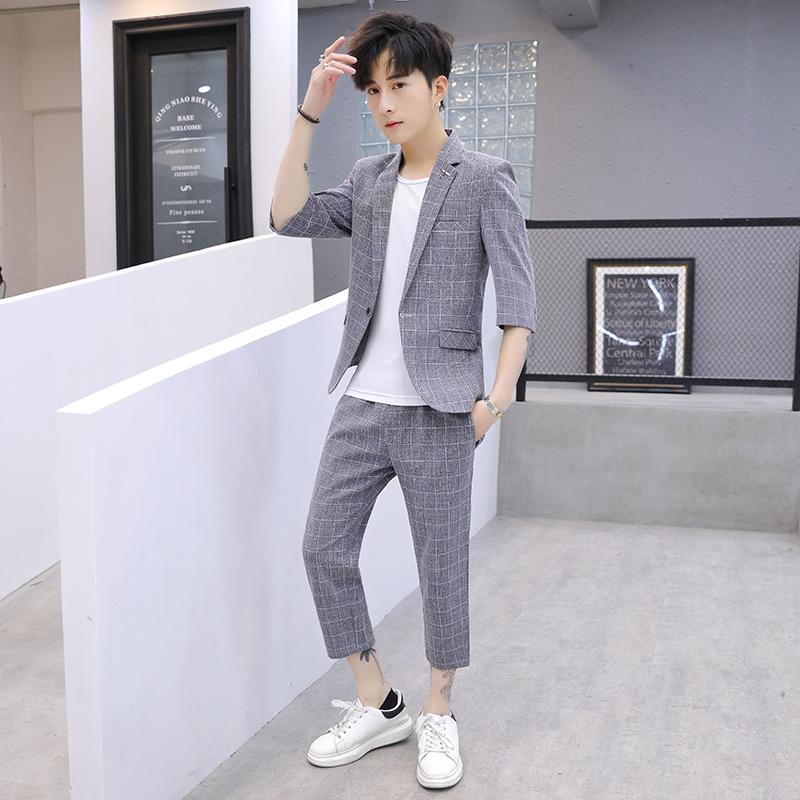 夏款西服套装青年七分袖两件套休闲韩版修身格子西装西裤TZ35P125