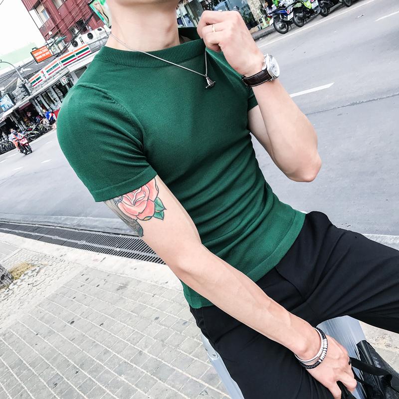 夏季冰丝t恤男士短袖潮牌修身针织上衣潮流社会小伙快手网红体恤不包邮
